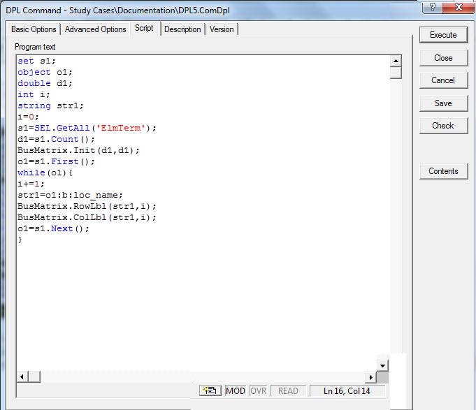 نوشتن ماتریس در DPL نرم افزار Digsilent