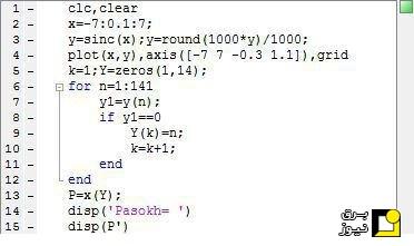 تعیین نقاط صفر تابع در Matlab بدون استفاده از توابع آماده